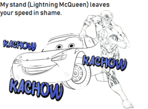 Ever wondered why he is so fast?: Mystand (Lightning McQueen)leaves  KACHOVV  KACHOVV  KACHOW Ever wondered why he is so fast?