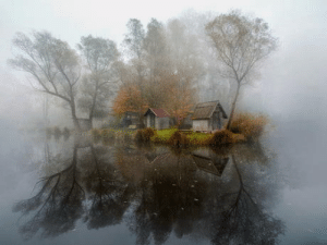 Hungarian, Village, and Abandoned: Mysterious, abandoned Hungarian lake village.