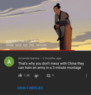 They know the ancient technique: MYSTERIOUS ASHE  DARK SIDE OF THE MOON  Amanda barlow 2 months ago  That's why you don't mess with China they  can train an army in a 3 minute montage  1.4K  9  VIEW 9 REPLIES They know the ancient technique