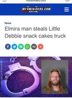 Family, Funny, and News: mytwintiers.com  MY&WIN LTERS.COM  W E T M18A  News  Elmira man steals Little  Debbie snack cakes truck  SMS Joe Dirt lookalike steals snack truck to visit family and relatives in next town over
