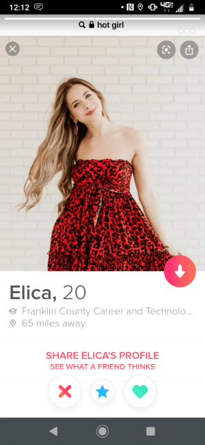 At least crop out the search: N 9 04G  12:12 E  Q hot girl  Elica, 20  Franklin County Career and Technolo...  65 miles away  SHARE ELICA'S PROFILE  SEE WHAT A FRIEND THINKS  X At least crop out the search