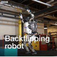 Say hello to our robot overlords. Atlas, a humanoid machine that can do backflips, has been unveiled by the company Boston Dynamics. It's got an impressive array of gymnastic skills, but it doesn't always land on its feet - yet. robot backflip science technology nailedit: n.  Backflipping  robot Say hello to our robot overlords. Atlas, a humanoid machine that can do backflips, has been unveiled by the company Boston Dynamics. It's got an impressive array of gymnastic skills, but it doesn't always land on its feet - yet. robot backflip science technology nailedit
