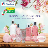 n Carrefour  CASH BACK  30%  d6ANNG EN PROVENCE  ETABLIE A GRASSE DE PUIS 1978  EN PR  GRASSEDEM  nooitante  This offer is valid until 5.10.2016 Take care of your body and skin with Jeanne en provence products from @carrefourlebnon come in store for the lowest prices and best deals! lowprices bestdeals Carrefour Cashback CashorPoints Hypermarket