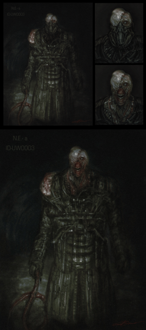 cinemamind:  This is my idea of a Nemesis design if it was given the RE2 remake treatment, for fun. Perhaps he could have a mask that the player could shoot off, similar to Mr. X's hat?: N.E- a  ID-UWO003   N.E- a  ID-UWO003 cinemamind:  This is my idea of a Nemesis design if it was given the RE2 remake treatment, for fun. Perhaps he could have a mask that the player could shoot off, similar to Mr. X's hat?