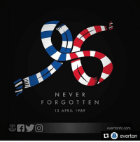 Everton, Football, and Friends: N E V E R  F O R G O T T E N  15 APRIL 1989  evertonfc.com  everton 🙏 Repost @everton Today, as with every day since 15 April 1989, the thoughts and prayers of every Evertonian are with the friends and families of the 96 football fans who lost their lives at Hillsborough. MerseysideUnited