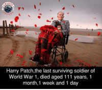 Memes, Soldiers, and World: n G  Harry Patch,the last surviving soldier of  World War 1, died aged 111 years, 1  month,1 week and 1 day