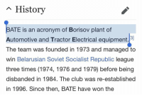 This is the team Arsenal lost to... https://t.co/EEha0J7yOv: n History  ATE is an acronym of Borisov plant of  Automotive and Tractor Electrical equipment.  The team was founded in 1973 and managed to  win Belarusian Soviet Socialist Republic league  three times (1974, 1976 and 1979) before being  disbanded in 1984. The club was re-established  in 1996. Since then, BATE have won the This is the team Arsenal lost to... https://t.co/EEha0J7yOv