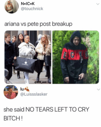 Bitch, Memes, and Chanel: N IC.K  @touchnick  ariana vs pete post breakup  BCN  CHANEL  0  @will ent  lu  @Luissslasker  she said NO TEARS LEFT TO CRY  BITCH! Damn