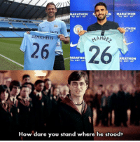 Mahrez has some nerve... https://t.co/Kamb4pWSX0: N MARATHON  ARATHON M  THON  DEMICHELIS  MAHRE  2626  ARATHO  RA  THON  How dare you stand where he stood? Mahrez has some nerve... https://t.co/Kamb4pWSX0