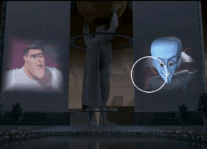In Megamind, Metro Man can be seen blinking out of the scene using his super speed.: N MISEUM In Megamind, Metro Man can be seen blinking out of the scene using his super speed.