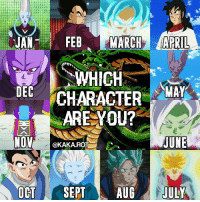 Gohan, Memes, and Sept: n n  JAN  A FEB  MARCH APRIL  WHICH  DEC  MAY  CHARACTER  ARE YOU?  NOV  JUNE  @KAKA.ROTT  OCT  SEPT  AUG  JULY Which character are you? 🉐Double Tap & Tag Friend🉐 ▂ ▂ ▂ ▂ ▂ ▂ ▂ ▂ ▂ ▂ ▂ ▂ ▂ ▂ ▂ ▂ ▂ ▂ ▂ ▂ ▂ ▂ ▂ Tags : DragonBall DragonBallZ Goku 孫悟空 DragonBallSuper Kakarot SuperSaiyan Vegeta Gohan FanArt Edit Fact bestacc like4like like4follow anime follow4follow love