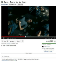"""n sync: N' Sync Tearin Up My Heart  jorkojorev 259 videos Subscribe  """"  )  01 34 , 03:35  Speed 360p  Like V + Add to▼ Share  814,828 d  Uploaded by jorkojorev on Oct 18, 2009  2 228 ikes, 21 dislibes  """"a Artst N Sync  N Sync Tearin Up My Heart  Buy Tearin' Up My Heart  (Original Radio Edt) Dn  AmszonMP3, Tunes  Show more ¥  Top Comments  Thumbs up if your listening this in 1286 B.C. in Egypt under the rule of Ramsesl  Starscream202 2 weeks ago 1 16"""