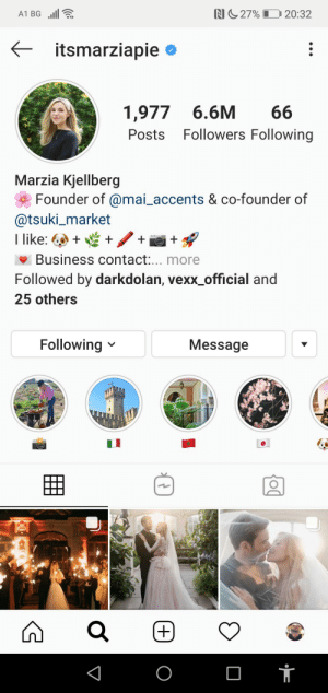 Omg thats so cute she changed her last name i cant im happy crying 😍😭: N27% L  A1 BG  20:32  itsmarziapie  1,977 6.6M  66  Followers Following  Posts  Marzia Kjellberg  Founder of @mai_accents & co-founder of  @tsuki_market  I like:  Business contact:... more  Followed by darkdolan, vexx_official and  25 others  Following  Message  +) Omg thats so cute she changed her last name i cant im happy crying 😍😭