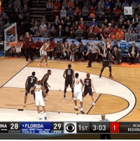 Sports, Open, and Beat: NA 28 FLORIDA 29 O 1ST 3:03 1  NCAA  FOU  NUS  POSS  REGION The bank is open! Chris Chiozza continues to beat the buzzer (➡️ @pringlesus)