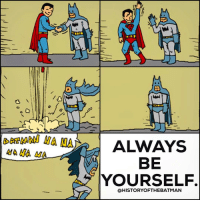 """Batman, Instagram, and Love: NA NA NA  ALWAYS  BE  YOURSELF  @HISTORY OFTHE BATMAN Good Knight Gothamites! Tomorrow we'll continue our session """"The Forgotten Shadow of the Bat in the 1980s""""! I leave you tonight with an account edit using original art by Guy Dimet! To see more of their illustrations, please visit their website at Guyster.deviantart.com! As always, thanks for following and all of the constant support on and off of Instagram, it is greatly appreciated! Have a great night and we will have more History of the Batman tomorrow. Remember Gothamites, it's all about Peace, Love and Batman! ✌🏼💙🦇😄"""