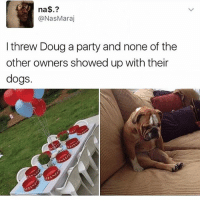 Poor Doug 💔 Backup: @bitchpride: na  @Nas Maraj  I threw Doug a party and none of the  other owners showed up with their  dogs. Poor Doug 💔 Backup: @bitchpride