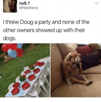 Sad: na  @Nas Maraj  I threw Doug a party and none of the  other owners showed up with their  dogs. Sad