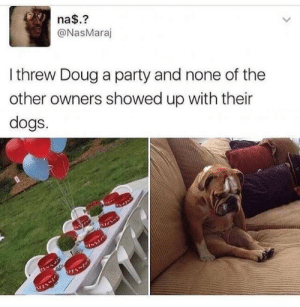 noooooo doug!!!!! : na$.?  @NasMaraj  Ithrew Doug a party and none of the  other owners showed up with their  dogs. noooooo doug!!!!!