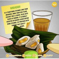 Nagasari.. komikinajah selasaedukasi by @goyipipi: NAGASAR  AYI  IS A TRADITIONAL STEAMED CAKE FROM  INDONESIA, MADE FROM RICE FLOUR,  COCONUT MILK & SUGAR, FILLED WITH  SLICES OF BANANA. IT IS USUALLY  WRAPPED IN BANANA LEAVES BEFORE  BEING STEAMED, OR PREPARED WITH  PANDAN THAT GIVES T  ROMA.  www.goy  GoyiPipi @goyipip  Goyi Pipi Nagasari.. komikinajah selasaedukasi by @goyipipi