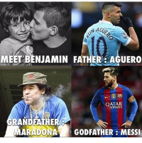 No Pressure Kid 😂: NAGUS  MEET BENJAMIN FATHER AGUERO  QATAR  GRANDFATHE  MARADONA GODFATHER MESSI No Pressure Kid 😂