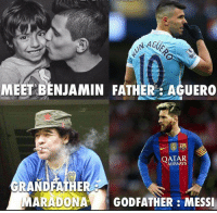 No pressure, Benny.: NAGUS  MEET BENJAMIN FATHER AGUERO  QATAR  GRANDFATHER  MARADONAA GODFATHER MESSI No pressure, Benny.