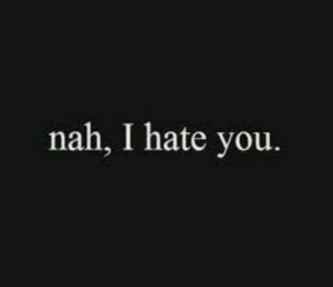 You, Nah, and I Hate You: nah, I hate you.