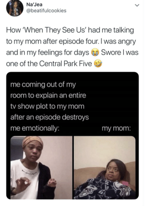Blackpeopletwitter, Funny, and Angry: Na'Jea  @beatifulcookies  How 'When They See Us' had me talking  to my mom after episode four. I was angry  Swore I was  and in my feelings for days  one of the Central Park Five  me coming out of my  room to explain an entire  tv show plot to my mom  after an episode destroys  me emotionally:  my mom:  MB When They See Us 🤣😢