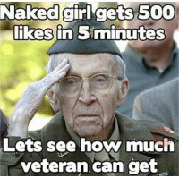 More at Funny Twisted Humor: Naked girl gets 500  likes in Siminutes  Lets see how much  veteran can get More at Funny Twisted Humor