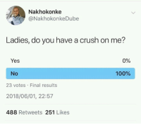 Guess hell just die.: Nakhokonke  @NakhokonkeDube  Ladies, do you have a crush on me?  Yes  0%  No  100%  23 votes Final results  2018/06/01, 22:57  488 Retweets 251 Likes Guess hell just die.