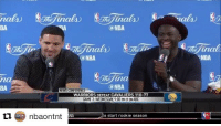 Nba, News, and Sports: nals)  @NBA  inals  @NBA  The ina  Can NBA  NEWS CONFERENCE  WARRIORS DEFEAT CAVALIERS 110-77  GAME 3: WEDNESDAY 9:00 PMET ONABC  ti nbaontnt ANA o start rookie season  Helina  NBA. Are the Warriors better than Mychal Thompson's Showtime Lakers? Draymond and Klay took completely different approaches 😂😂 (via @nbaontnt)