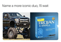 Humans of Tumblr, Iconic, and Trojan: Name a more iconic duo, I'll wait  ALUE PACK  TROJAN  X-SMALL  Perfeet fit or penises  under 15 inches  30  fb/ig: ReddingBeLike
