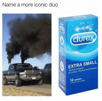 Funny, Love, and Sex: Name a more iconic duo  love sex  (3  dure  EXTRA SMALL  Specially designed  for hunters, shooters and fishermen  12 condoms  Typically a year's supply I'll wait... https://t.co/kNbDewIpYN