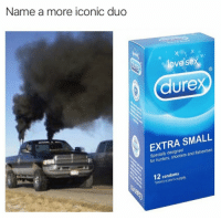 Funny, Love, and Sex: Name a more iconic duo  love sex  (R  durex  EXTRA SMALL  Specially designed  for hunters, shooters and fishermen  12 condoms  Typicaly a year's supply. Tag someone with a big truck https://t.co/CRci3XDHh1