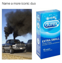 @pms has the funniest memes: Name a more iconic duo  ove se  3  dure  EXTRA SMALL  Specially designed  for hunters, shooters and fishermen  12 condoms  Typically a year's supply. @pms has the funniest memes