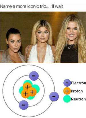 Not a chem grad.: Name a more iconic trio... 'll wait  Electron  Proton  Neutron Not a chem grad.