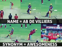 Memes, Awesomeness, and 🤖: NAME AB DE VILLIERS  SYNONYM AWESOMENESS Mr. 360 AB de Villiers <3