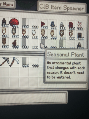 Does anyone know how to fix this? It's showing no picture or anything of the seasonal plant even when I place it down.: : Name  CJB Item Spawner  2.  999980989999 999  9.89999  999999 999 99A A99 A99 999 999 999  99998868  990989  GOO  Seasonal HPlant  An ornamental plant  that changes with each  season. It doesn't need  to be watered.  997999 Does anyone know how to fix this? It's showing no picture or anything of the seasonal plant even when I place it down.