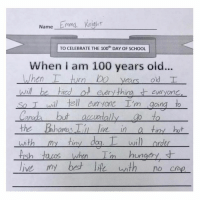 Anaconda, Funny, and Memes: Name ma Kngh  TO CELEBRATE THE 100th DAY OF SCHOOL  When i am 100 years old...  every thiro t everyon  so Twi tell eurone I'm going to  an  the hamas ie in a  tins hut  ny do  wi  order  h taros whnI hunger  IS (via @itsemmalu)