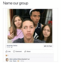 Lol, Soulja Boy, and Nick: Name our group  Soulja Boy Tell Em  Like Page  2 hrs.  Like  Comment  Share  Nick Ledford What direction? Lol  Like . Reolv。w 1-8 hrs 😂😂😂