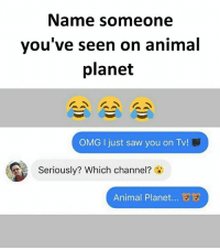 Animal Planet, Memes, and Omg: Name someone  vou've seen on animal  planet  OMG I just saw you on Tv!  Seriously? Which channel?  Animal Planet... Follow our new page - @sadcasm.co
