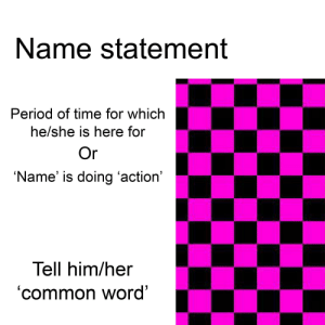 me irl: Name statement  Period of time for which  he/she is here for  Name' is doing 'action'  Tell him/her  'common word' me irl