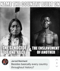 Memes, History, and 🤖: NAME THE COUNTRY BUILT ON  THE GENOCIDE &THE ENSLAVEMENT  OFONE RACEOFANOTHER  Jarred Reichard  Besides basically every country  throughout history?  0 (GC)