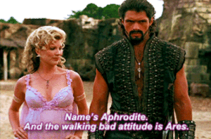 My girlfriend(Libra) dragging me(Aries) places to socialize: Name's Aphrodite.  And the walking bad attitude is Ares. My girlfriend(Libra) dragging me(Aries) places to socialize