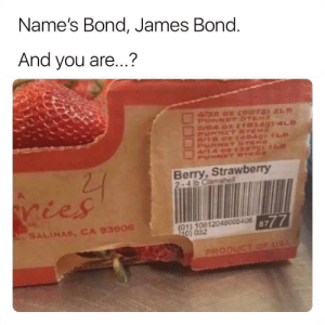 Secret fruity agent: Name's Bond, James Bond.  And you are...?  4/32 02 CSPO7 21  PUNNETSTEMS  V4 0x (TO149) 4LD  PUNNET ST  8/18 02  NET  PUNNCT SE  22  Berry,Strawberry  2-4 b Clamshell  ries  8777  (01) 10812049005406  220 032  2SALINAS, CA 93906  PRODUCT OF USA Secret fruity agent