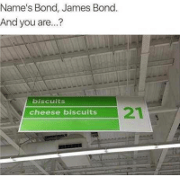 James Bond, Memes, and 🤖: Name's Bond, James Bond  And you are...?  biscuits  cheese biscuits 😎😎