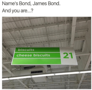 Dank, James Bond, and Memes: Name's Bond, James Bond.  And you are...?  biscuits  cheese biscuits And your name? by PepperSprayP FOLLOW HERE 4 MORE MEMES.