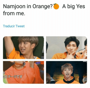 Orange, Bts, and Yes: Namjoon in Orange?  from me  A big Yes  Traducir Tweet  ステージです #bts #rm