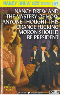 Fucking, Memes, and Orange: NANCY DREWSTOTES57  MYSTERY  1u  NANCY DREW AND  THE MYSTERY OF HoW  ANYONE THOUGHT THIS  ORANGE FUCKING  MORON SHOULD  BE PRESIDENT  e.  by  CAROLYN  KEENE  JeffTiedrich步@itsJeffiedrich  act.tv This is probably an excellent read...