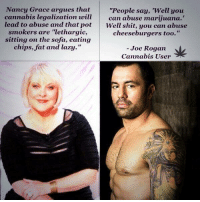 "Joe Rogan: Nancy Grace argues that  ""People say, 'Well you  cannabis legalization will  can abuse marijuana.  lead to abuse and that pot  Well shit, you can abuse  smokers are ""lethargic,  cheeseburgers too.""  sitting on the sofa, eating  chips, fat and lazy  Joe Rogan  Cannabis User"
