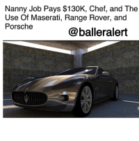 "Children, Comfortable, and Family: Nanny Job Pays $130K, Chef, and The  Use Of Maserati, Range Rover, and  Porsche  @balleralert Nanny Job Pays $130K, Chef, and The Use Of Maserati, Range Rover, and Porsche -blogged by @peachkyss ⠀⠀⠀⠀⠀⠀⠀ Naturally, you see the ballers, wives, babies, and girlfriends all living the life. Well, it looks like Nannies are able to live the ""Ballerific Life"" too. ⠀⠀⠀⠀⠀⠀⠀ In a recent ad on a childcare website, a family posted that they were looking for a highly qualified nanny. The nanny must have a degree in child psychology and a minimum of 15 years experience. ⠀⠀⠀⠀⠀⠀⠀ The nanny must be willing to work six days a week and 13 hours a day caring for the family's four children with the ages of 2,5,7, and 15. The nanny must also be comfortable flying regularly to the family's four homes in London, Barbados, Cape Town, and Atlanta. ⠀⠀⠀⠀⠀⠀⠀ ⠀⠀⠀⠀⠀⠀⠀ ""I feel it is best to be upfront. The role is demanding. Our children are home-schooled and require constant attention and supervision, even when they are with their teachers."" ⠀⠀⠀⠀⠀⠀⠀ The post also states that the nanny will have access to the family's chef, Porsche, Range Rover, and a Maserati. To seal the deal, the nanny will be paid $130,000 a year. ⠀⠀⠀⠀⠀⠀⠀ ⠀⠀⠀⠀⠀⠀⠀ Will you be applying for the new nanny position?"